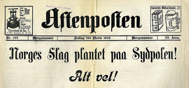 Old Aftenposten tabloid from 1912