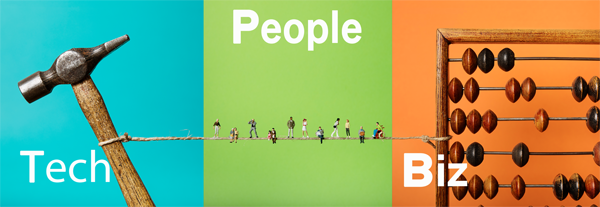 Graphic of tech people and biz