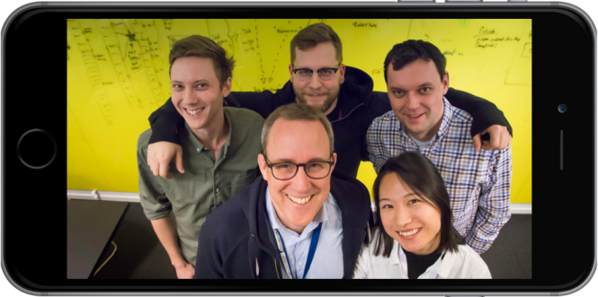 The Stockholm part of the iOS team: Jonas Salling and Yuwen He in front, Anton Dasismont, Maciej Banasiewicz and Gabriel Minarik in the back