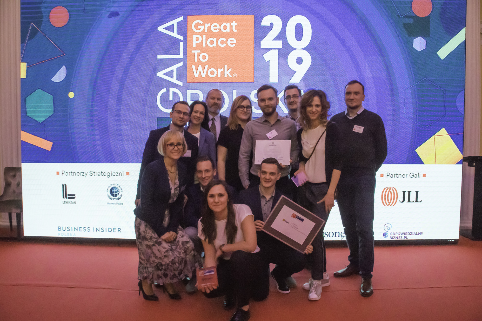 Schibsted Tech Polska and Prisjakt´s delegations at the Polish Great Place to Work award ceremony in Warsaw