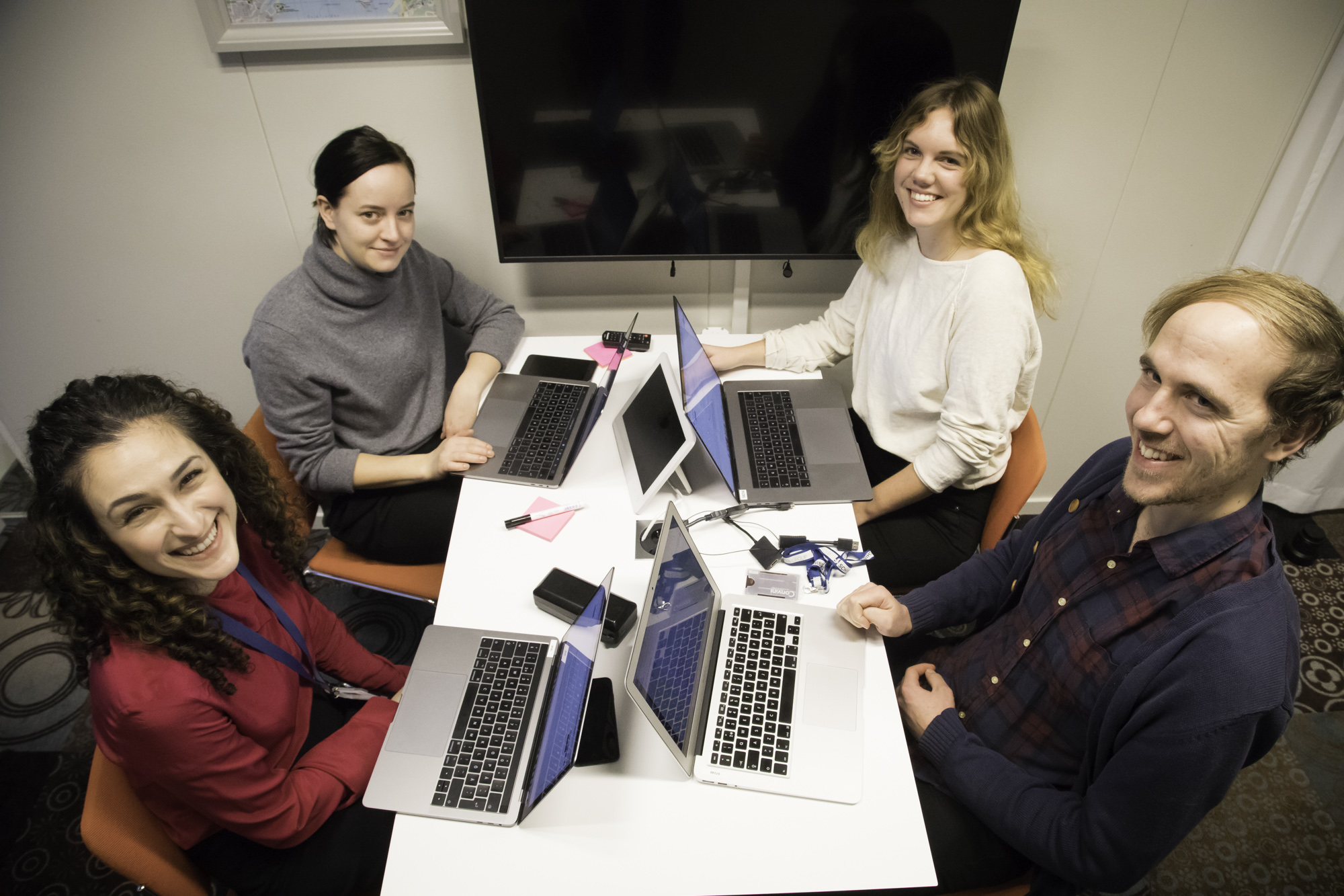 Some of the Stockholm members of the Omni Next team. From left: product manager Djeiran Amini Björklund, associate product manager Jenny Åbonde, designer Hanna Röstberg, and UX researcher Niklas Fyrvald.