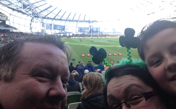 My fiance Joe, myself and my son Luke at the Ireland vs. Wales rugby match earlier this year.