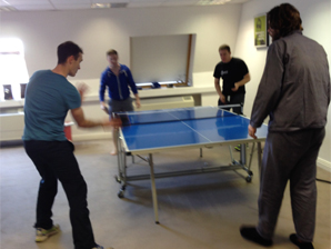 Some of the guys playing table tennis (Yes, Peter is in his pyjamas, it was extra casual dress up day!)