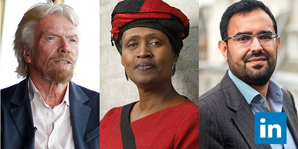 In good company: Our own Azeem Azhar (far right), together with Richard Branson and Winnie Byanyima. (Photo: LinkedIn)