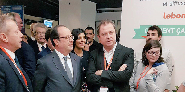 France's president François Hollande was very attentive to what Leboncoin's CEO Antoine Jouteau had to say at the Entrepeneurs Fair in Paris this week.