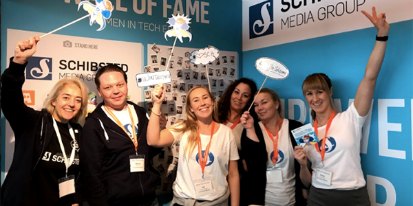 Schibsted's Muge Ersoy, Mikael Wikström, Ida Karlsen Løken, Marte Disen, Renate-Celina Løvendal-Skjolde and Anna Kvernplassen having fun at the conference.