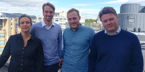 The management team of Schibsted Product and Tech Publishing. From L to R: Lidia Oshlyansky, Ian Vännman, Espen Sundve, Morten Jacobsen.